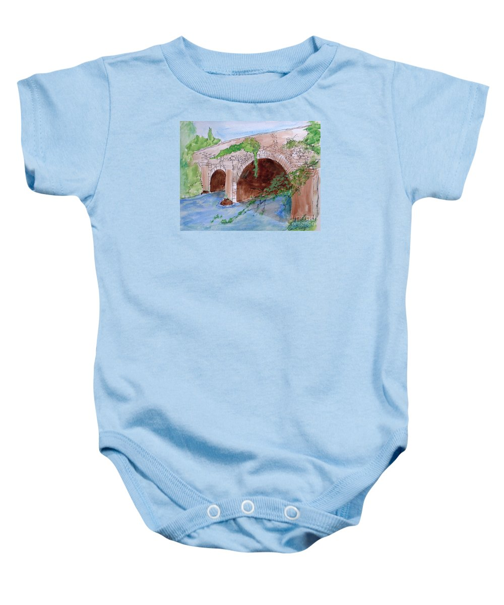 Old Bridge In Ireland Baby Onesie featuring the drawing Old Bridge In Ireland by Carol Veiga