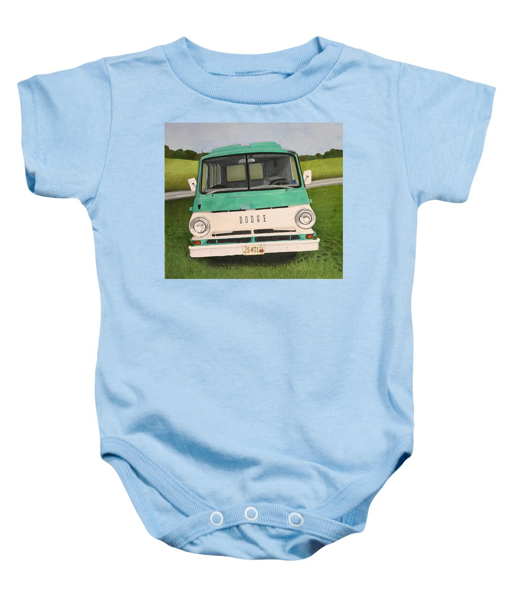 Dodge Baby Onesie featuring the mixed media Old Dodge by Keith Alan Spaar