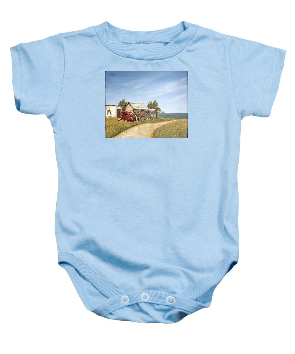 Old House Sea Seascape Landscape Baby Onesie featuring the painting Old House By The Sea by Natalia Tejera