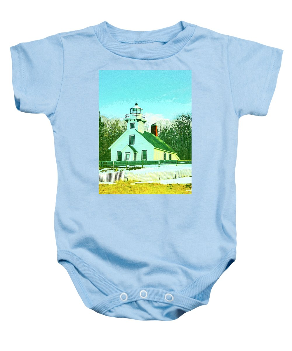 Old Mission Baby Onesie featuring the mixed media Old Mission Point Lighthouse by Dominic Piperata