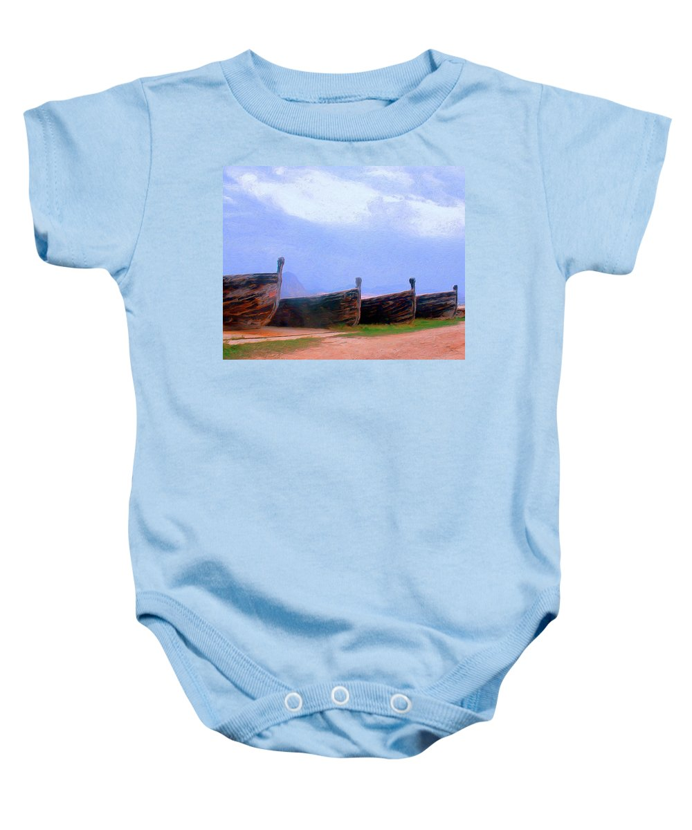 Old Boats Baby Onesie featuring the painting Old Sicilian Fishing Boats by Dominic Piperata