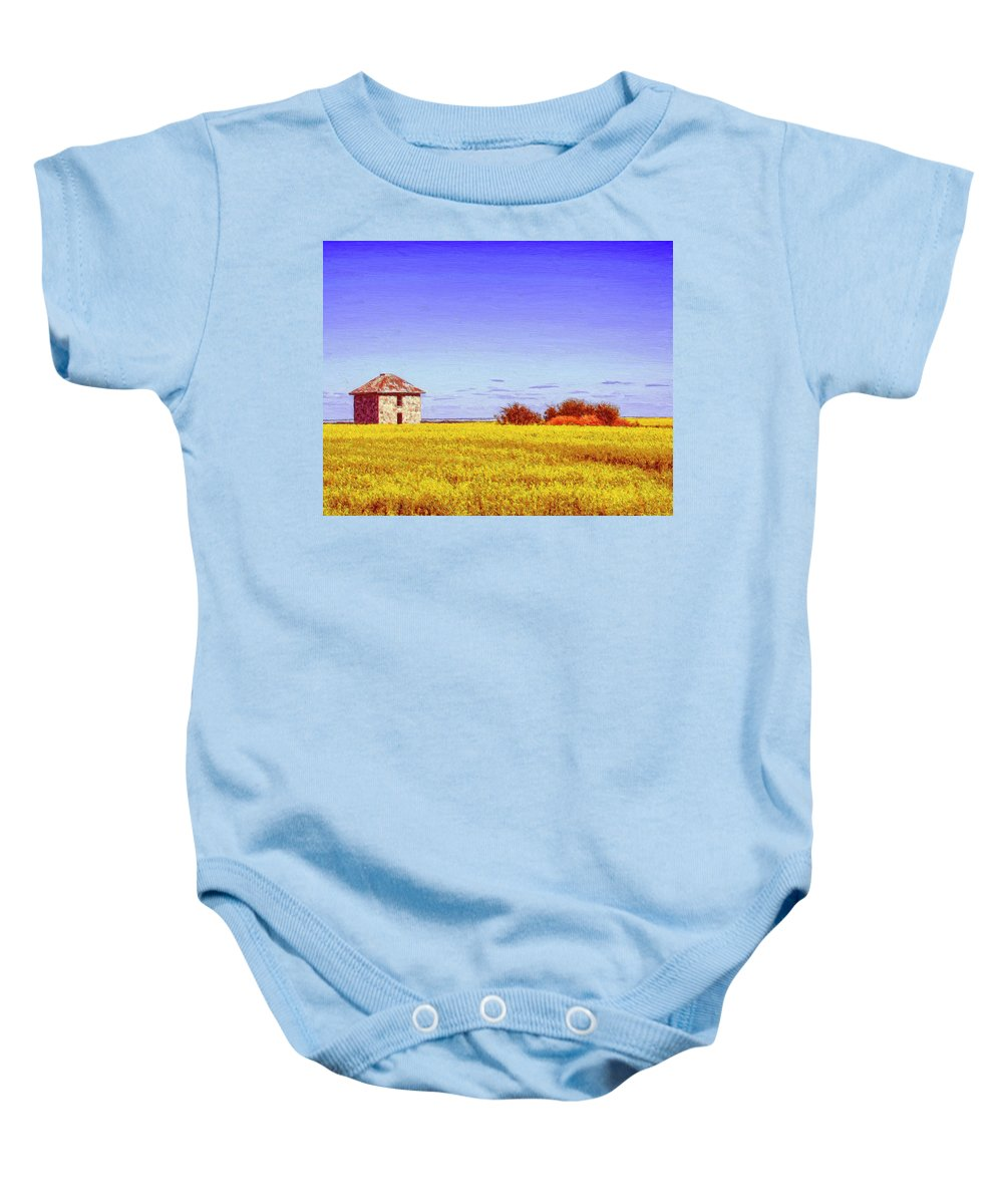 Farmhouse Baby Onesie featuring the painting Old Stone Farmhouse Tuscany by Dominic Piperata
