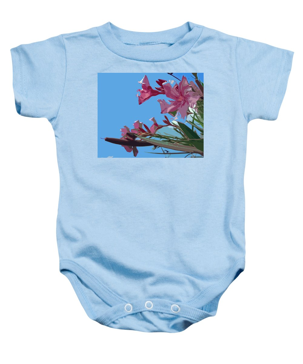 Flower Baby Onesie featuring the painting Oleander Flowers Wilting In The Brutal Florida Sun  by Allan Hughes