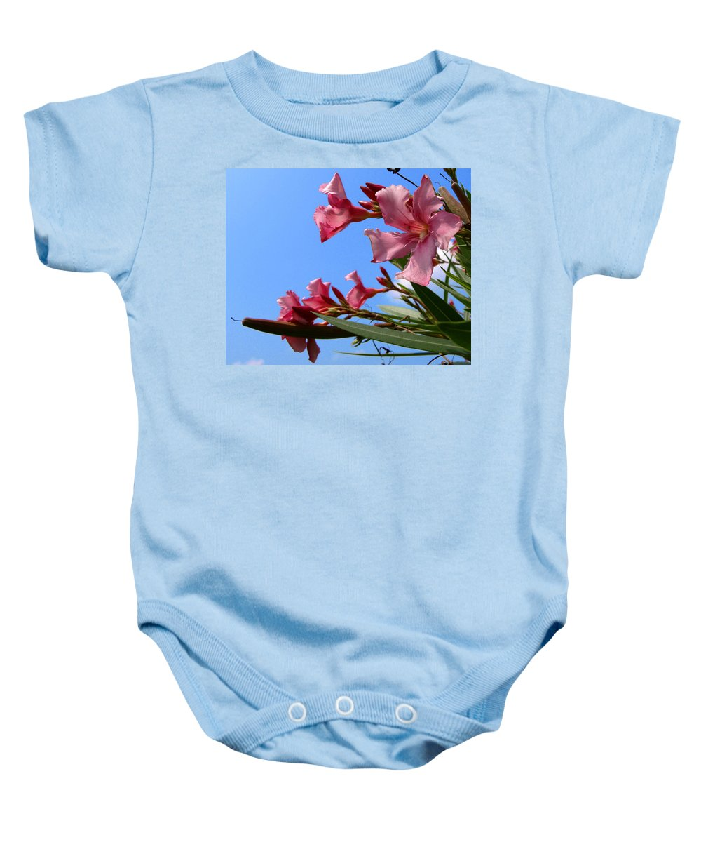 Flower; Florida; Oleander; Purple; Pink; Lavander; Sky; Blue; Clouds; Drought; Leaves; Green; South; Baby Onesie featuring the photograph Oleander Flowers Wilting In The Brutal Florida Sun by Allan Hughes