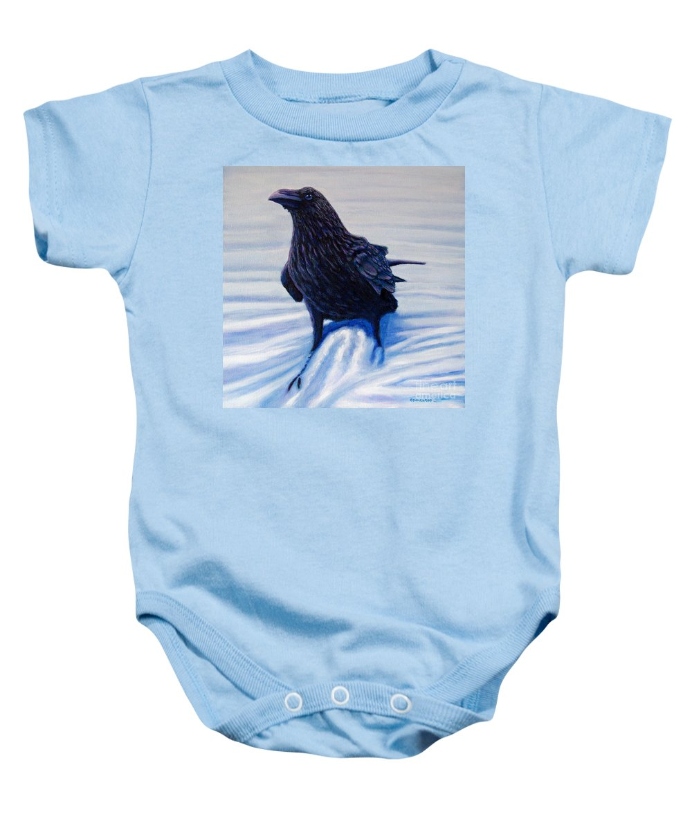 Raven Baby Onesie featuring the painting On Canyon Road by Brian Commerford