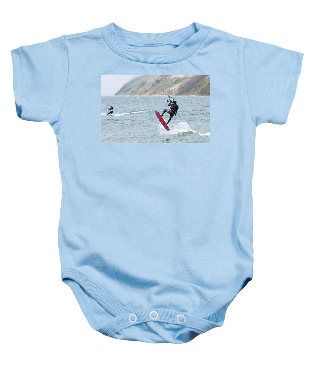 Michigan Baby Onesie featuring the photograph On End by Linda Kerkau