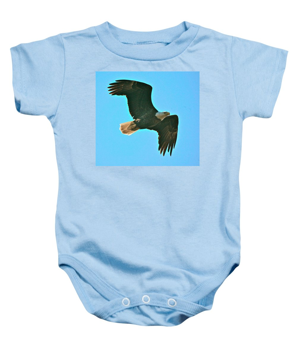Related Tags: Eagle Artwork Baby Onesie featuring the photograph On Patrol by Robert Pearson