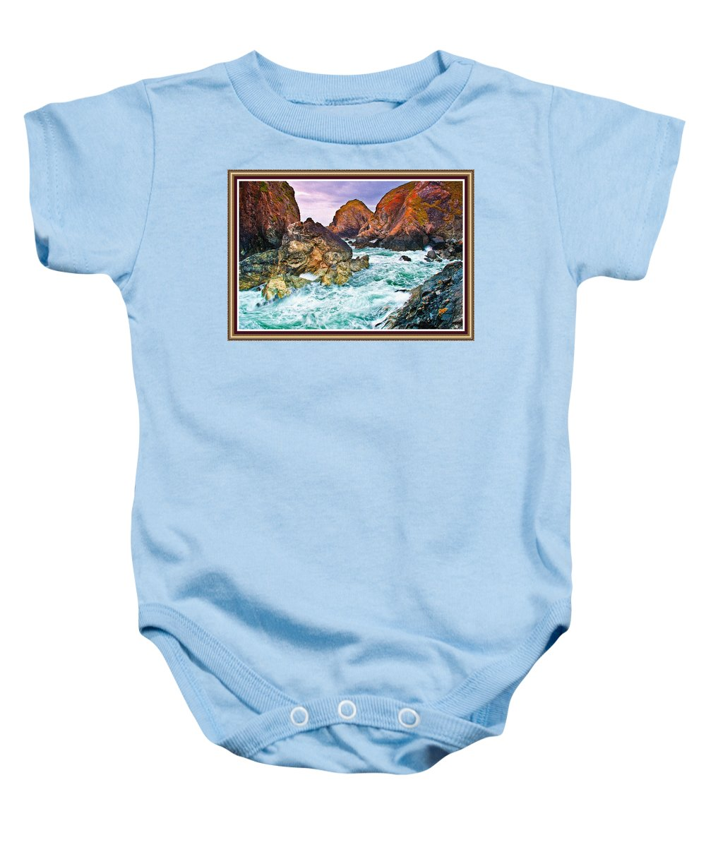 Rural Baby Onesie featuring the painting On The Coast Of Cornwall L B With Decorative Ornate Printed Frame. by Gert J Rheeders