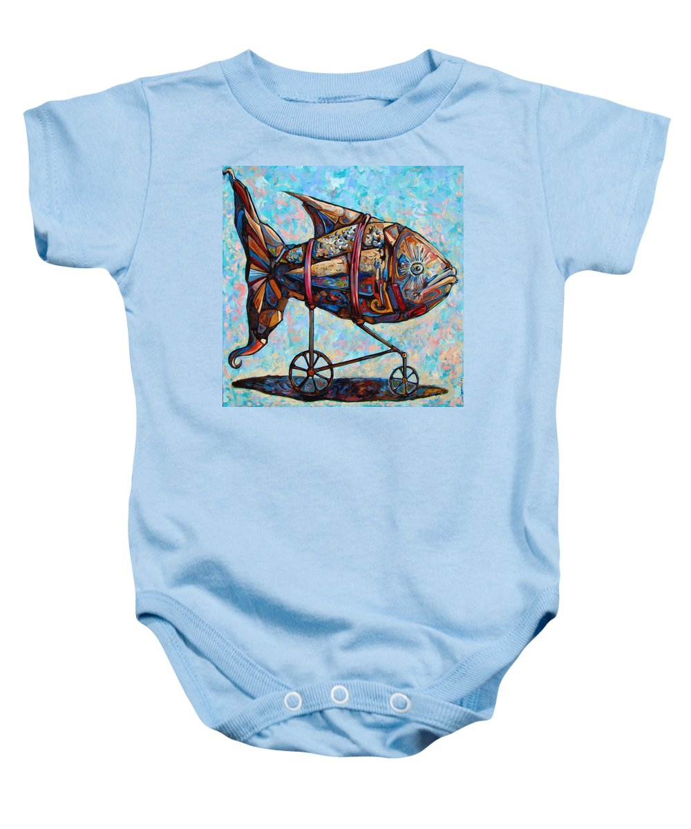 Surrealism Baby Onesie featuring the painting On The Conquer For Land by Darwin Leon