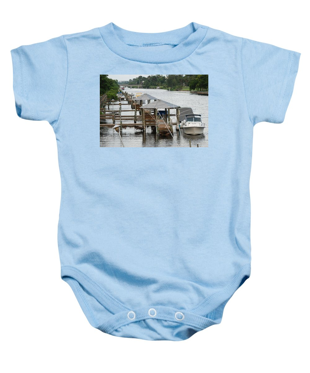 Boats Baby Onesie featuring the photograph On The Hillsboro Canal by Rob Hans
