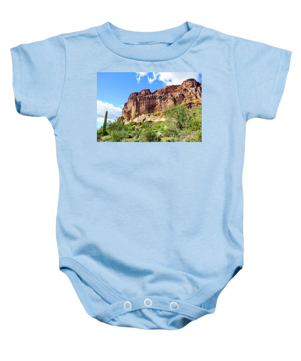 Onward And Upward Baby Onesie featuring the photograph Onward And Upward At The Superstition Mountains Of Arizona by Amy Sorvillo