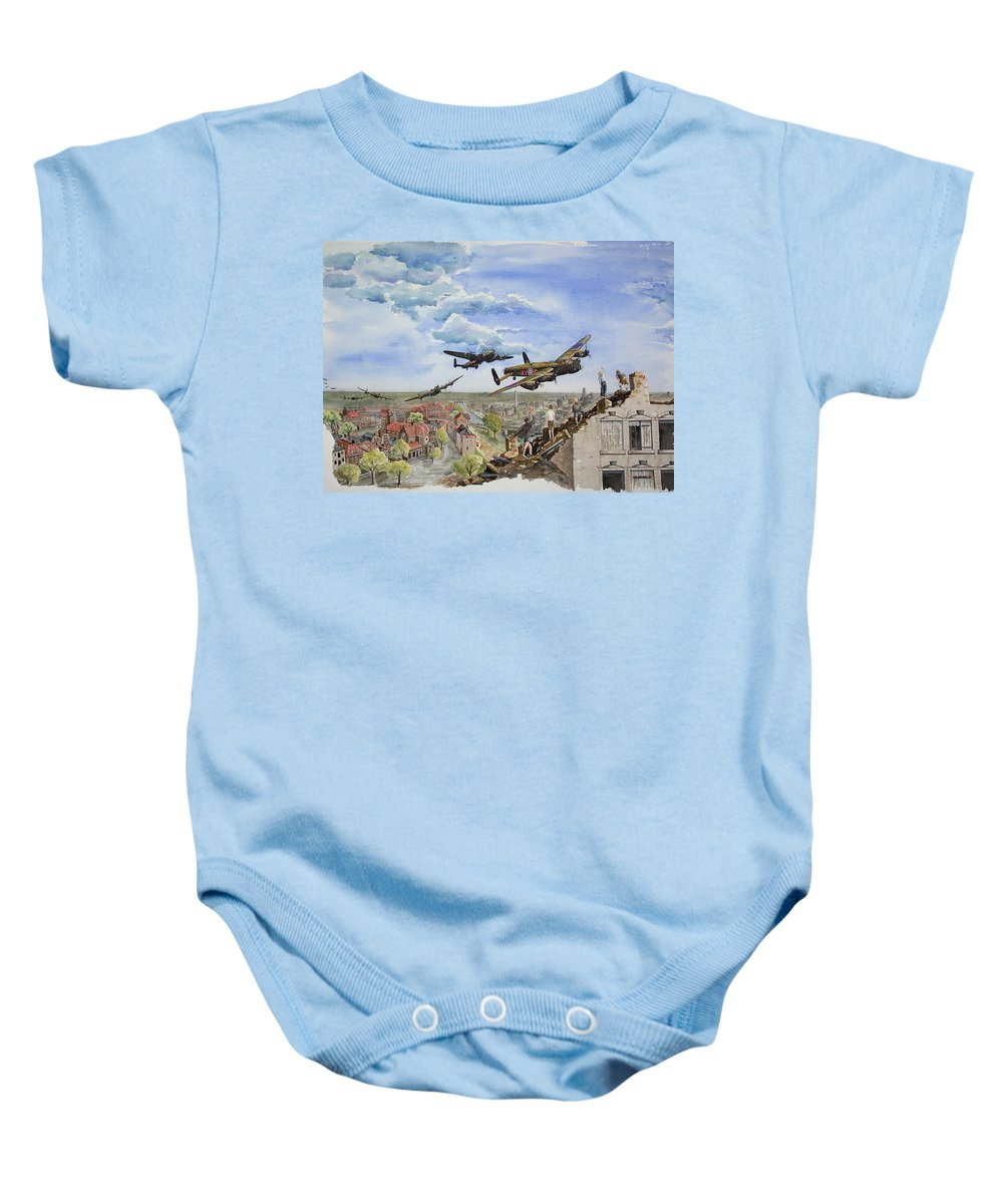 Lancaster Bomber Baby Onesie featuring the painting Operation Manna I by Gale Cochran-Smith