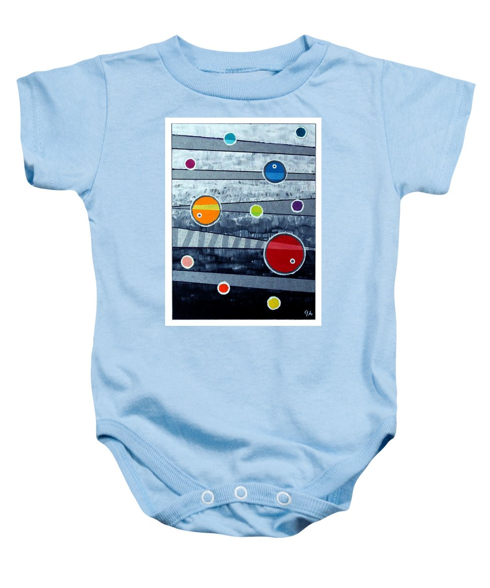 Acrylic Baby Onesie featuring the painting Orbs On Planes #3 by Jeremy Aiyadurai