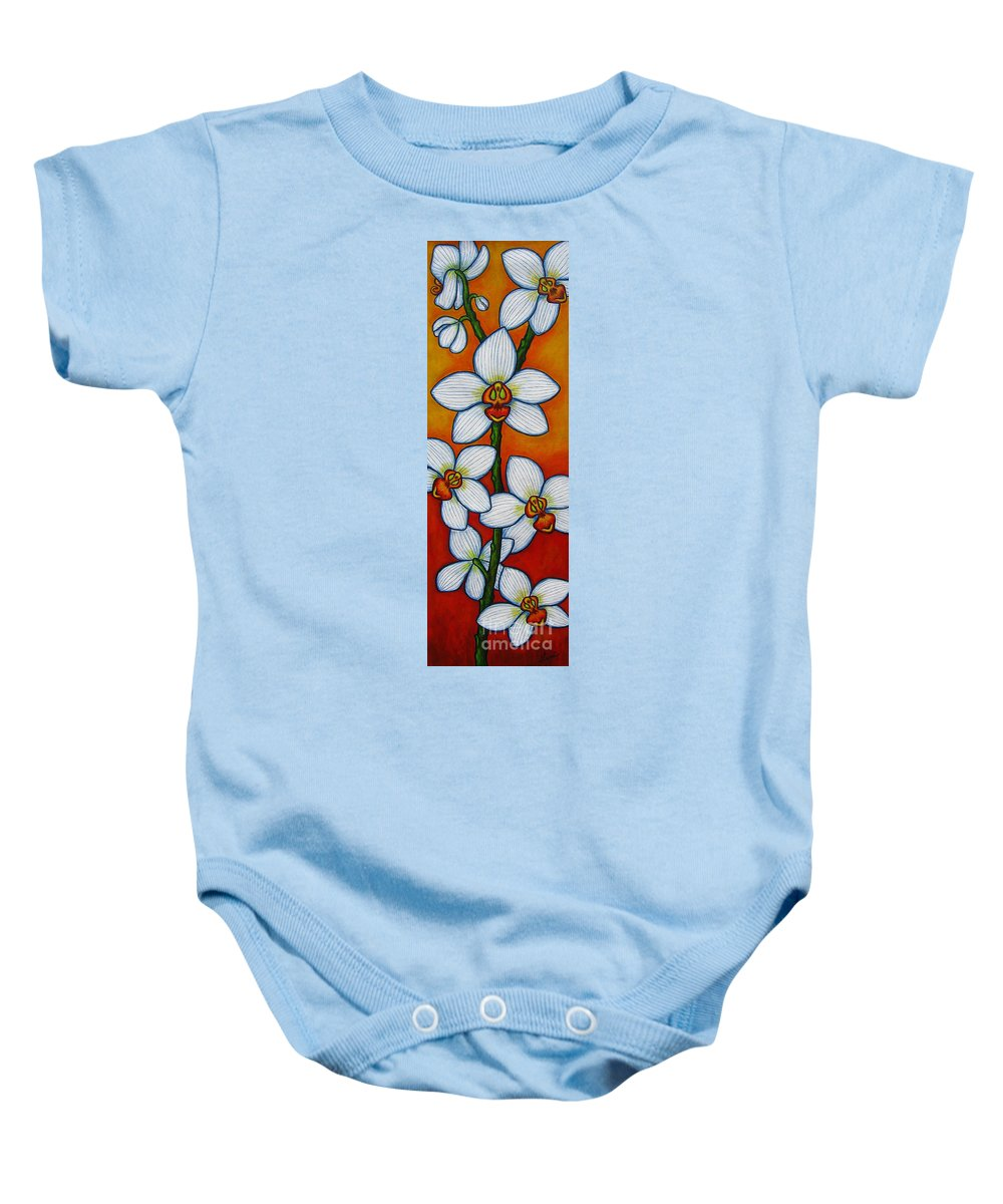 Orchids Baby Onesie featuring the painting Orchid Oasis by Lisa Lorenz