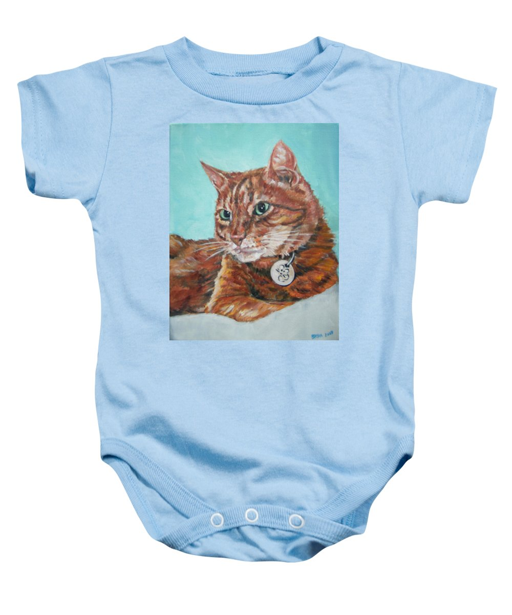 Cat Baby Onesie featuring the painting Oscar by Bryan Bustard