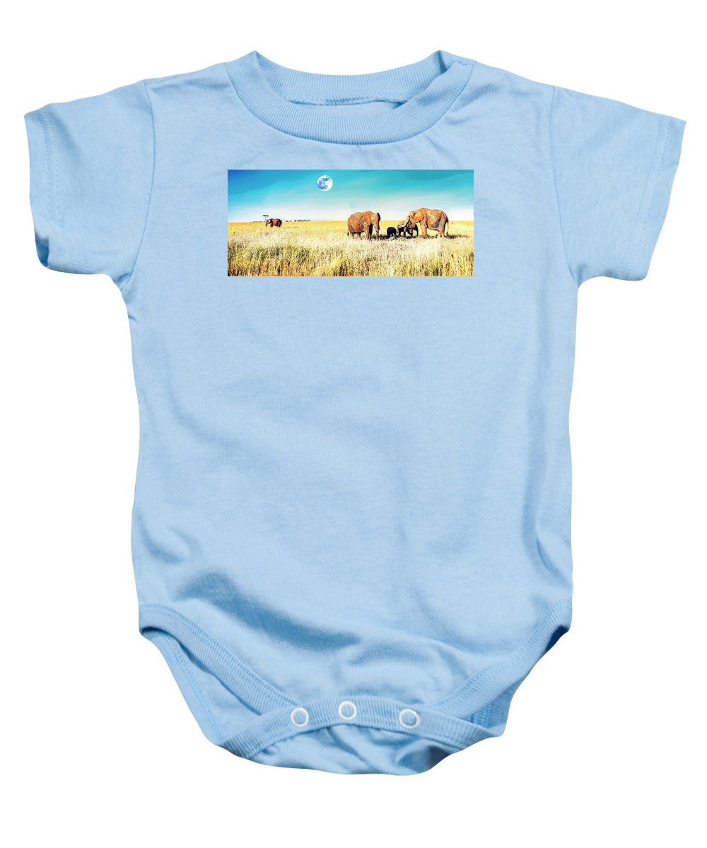 Nature Baby Onesie featuring the painting Out In The Serengeti by Celestial Images