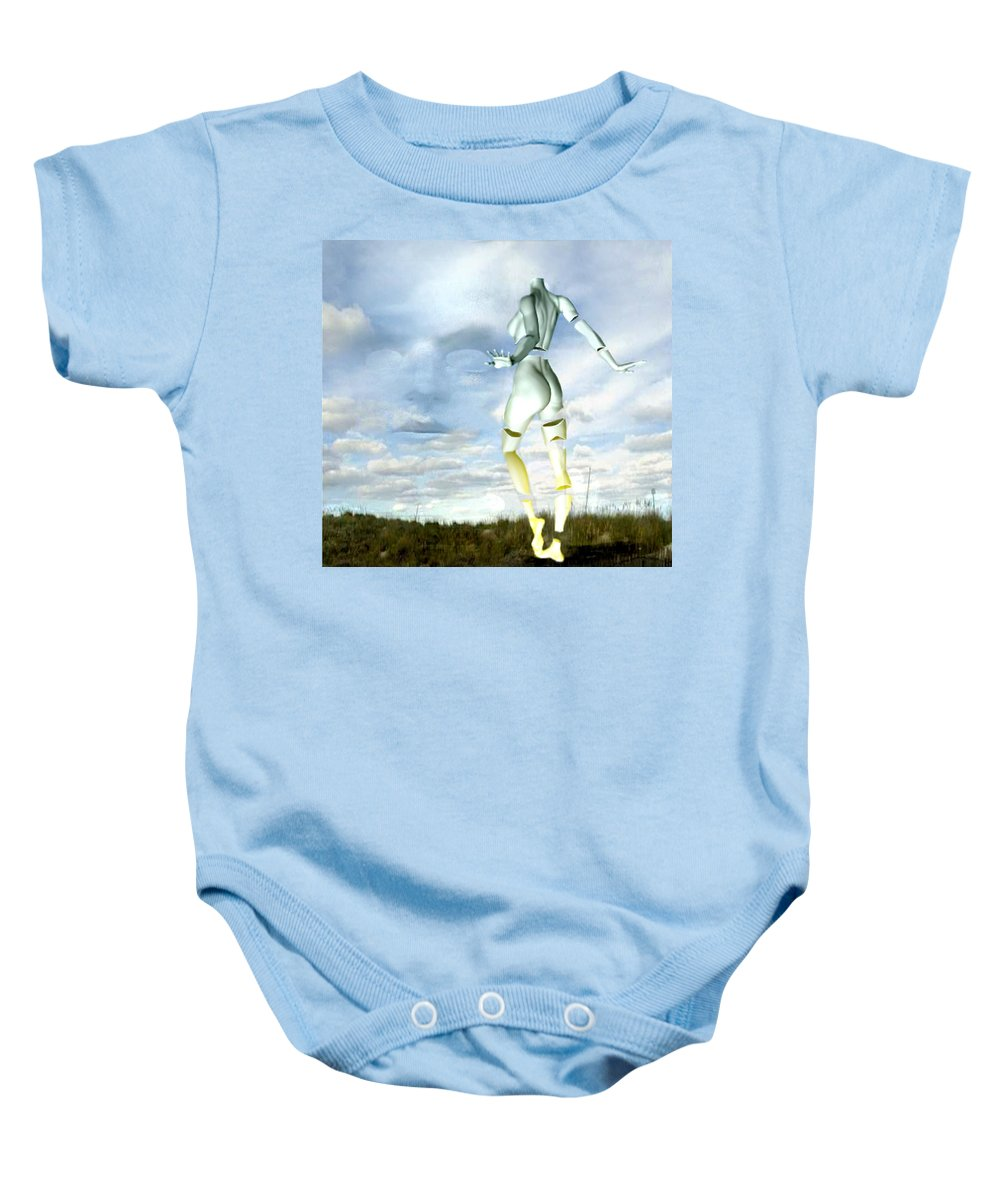 Sky Naked Woman Surreal Dance Baby Onesie featuring the digital art Out Of My Mind... by Veronica Jackson