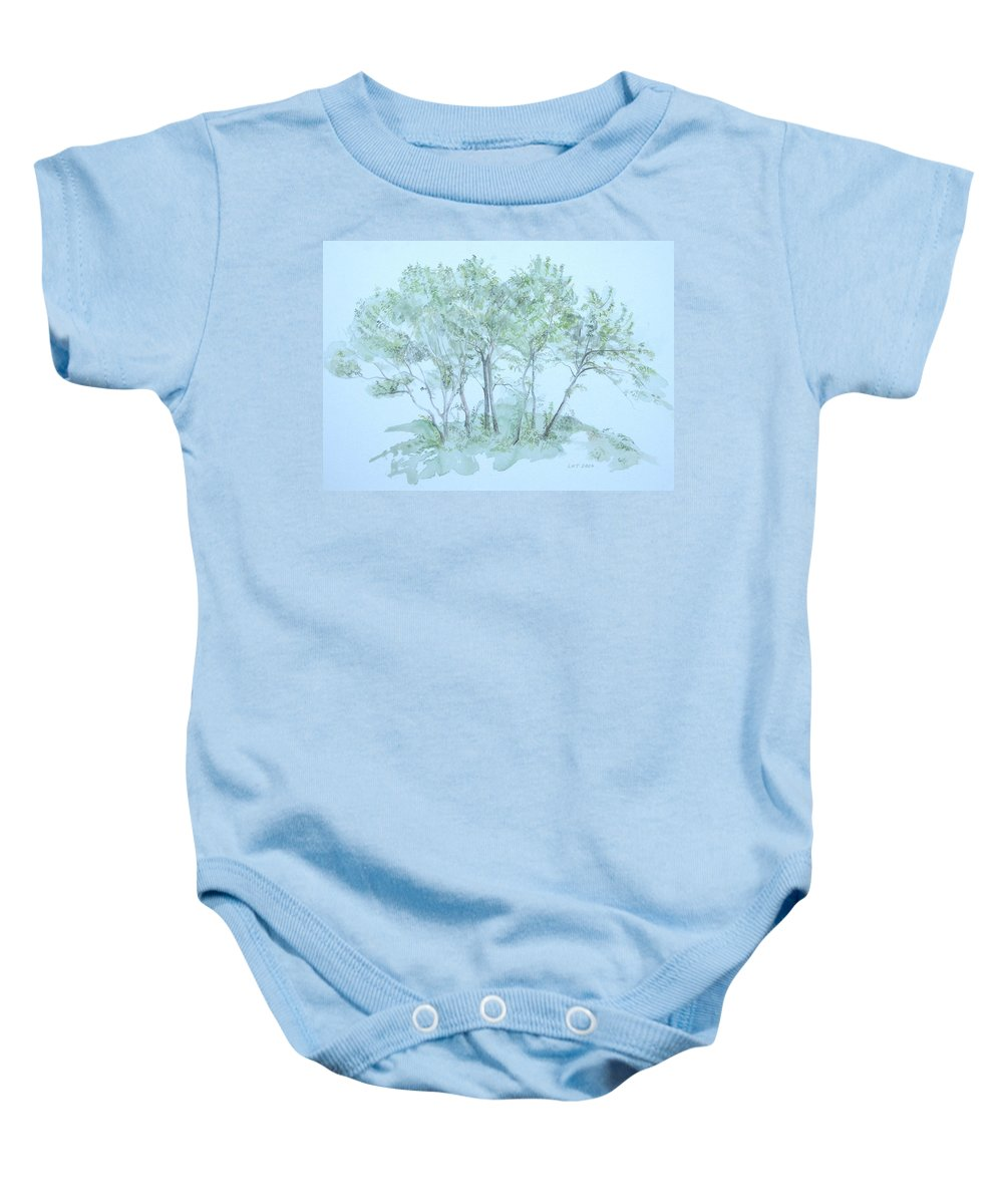 Trees Baby Onesie featuring the painting Outer Banks by Leah Tomaino