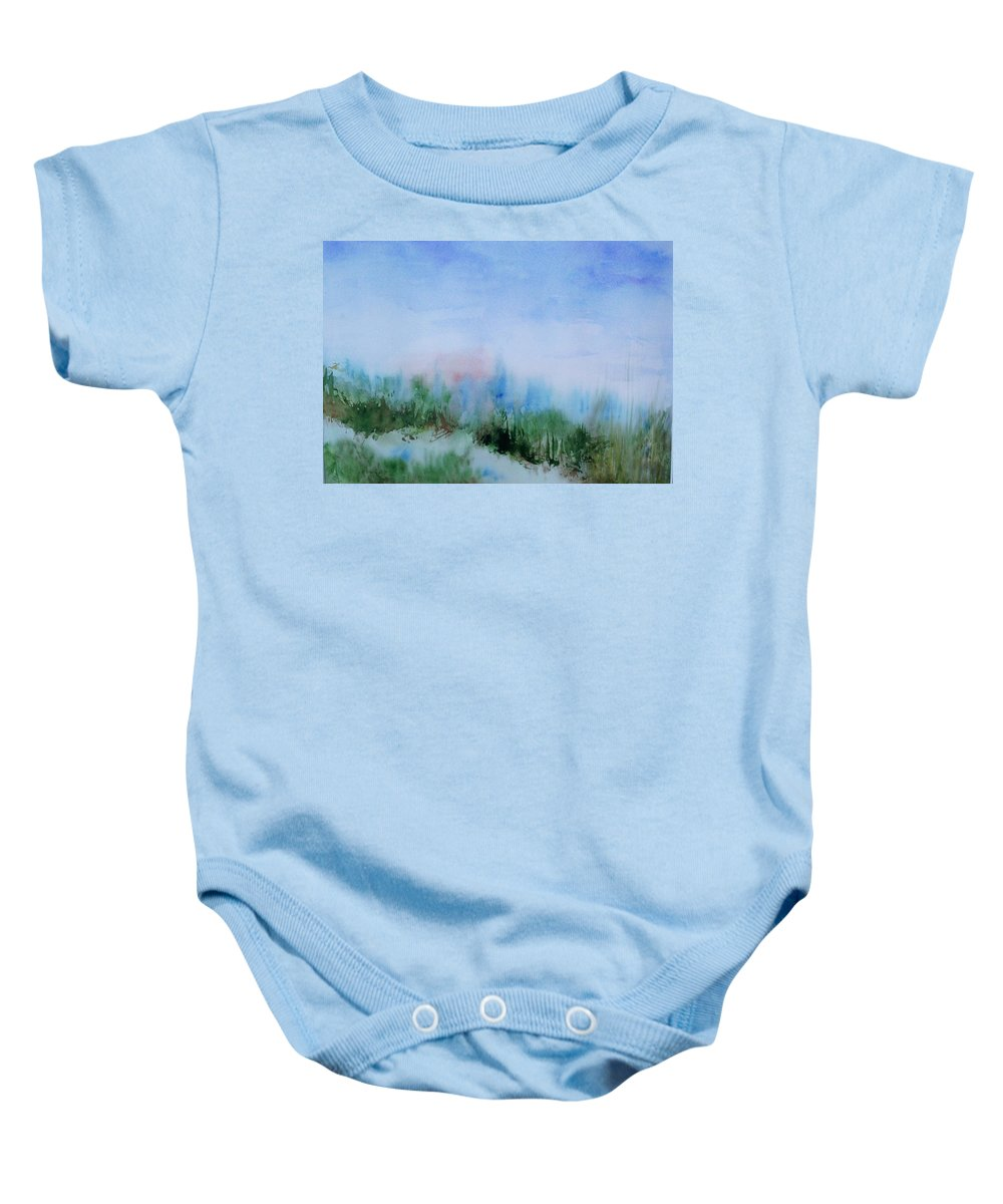 Landscape Baby Onesie featuring the painting Overlook by Suzanne Udell Levinger