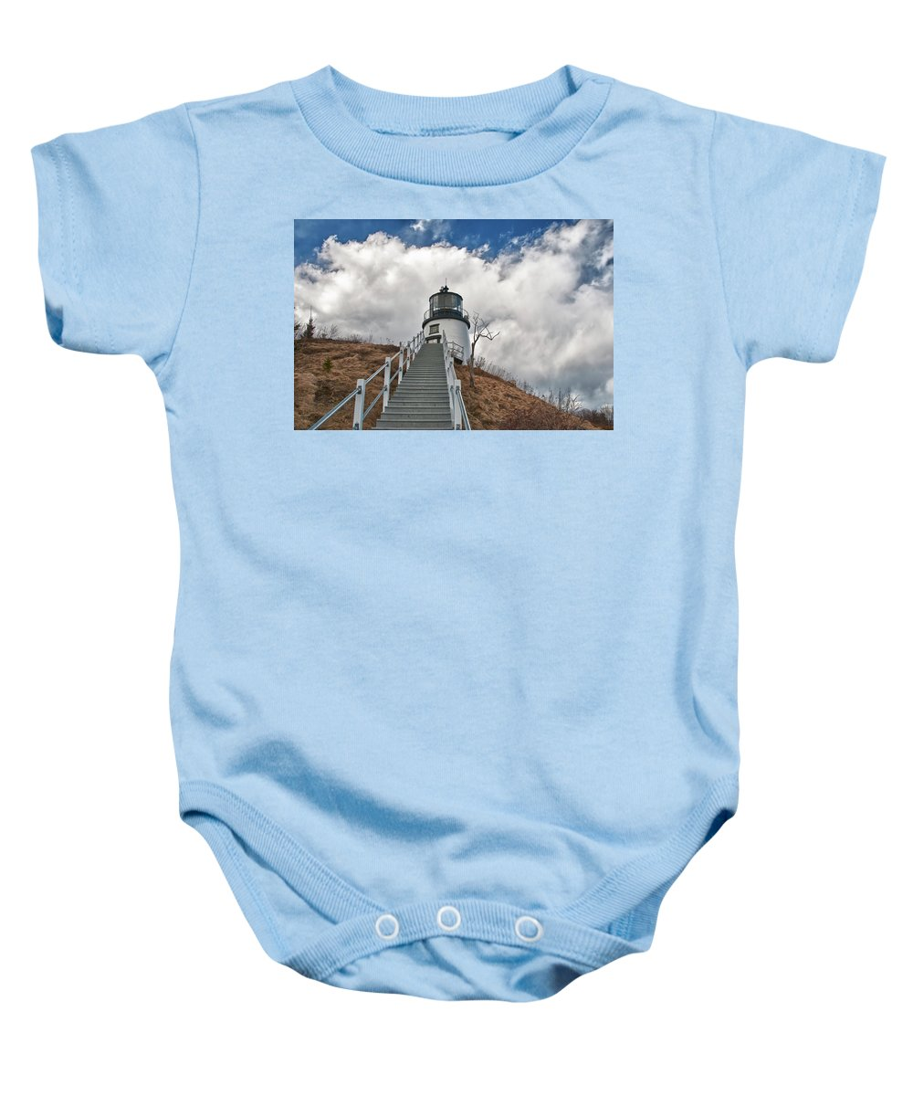 Buildings Baby Onesie featuring the photograph Owl's Head Lighthouse 4764 by Guy Whiteley
