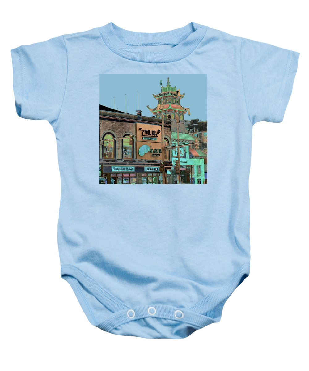 China Town Baby Onesie featuring the photograph Pagoda Tower Chinatown Chicago by Marianne Dow