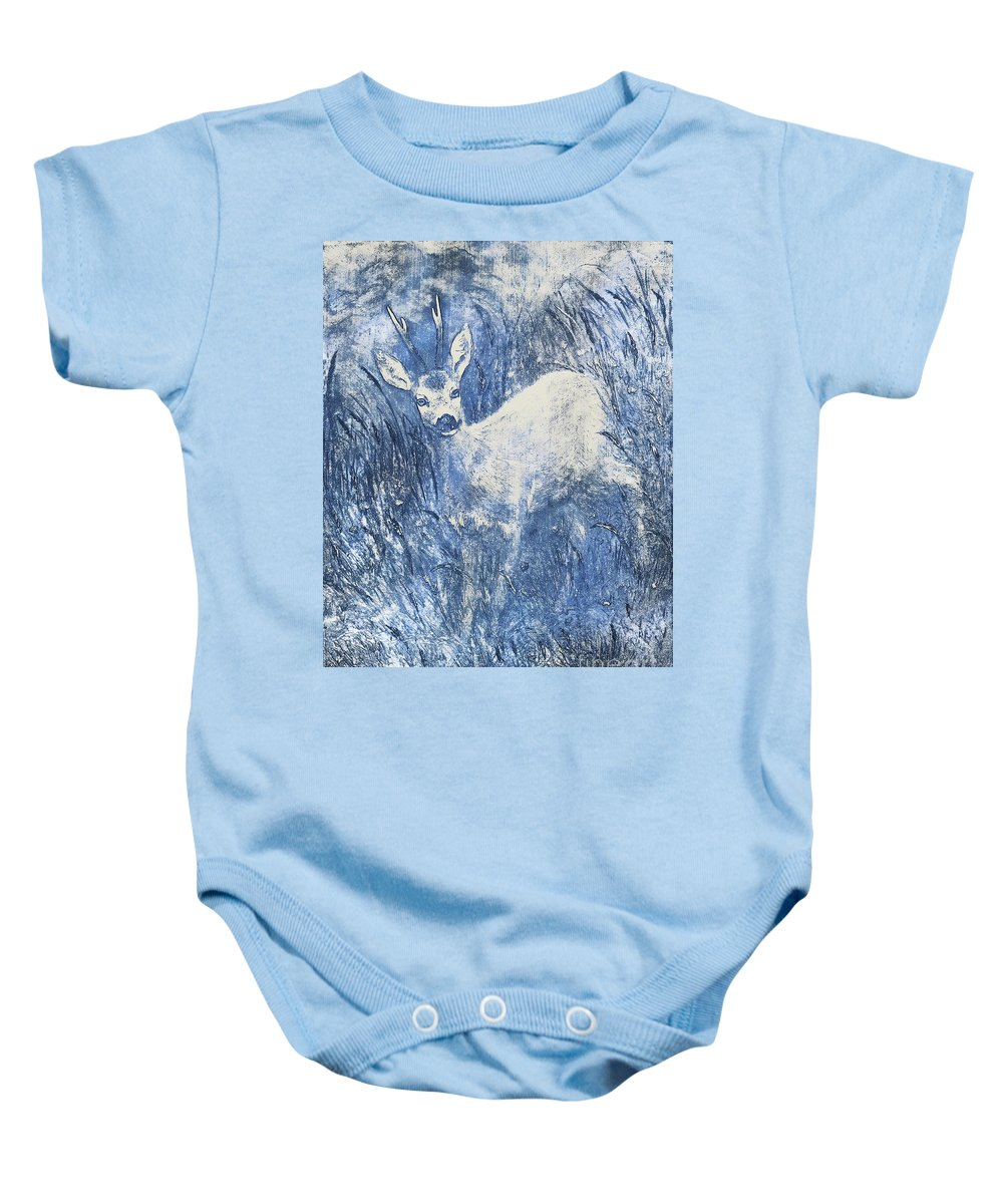 Deer Baby Onesie featuring the painting Painting Of Young Deer In Wild Landscape With High Grass. Graphic Effect. by Jozef Klopacka