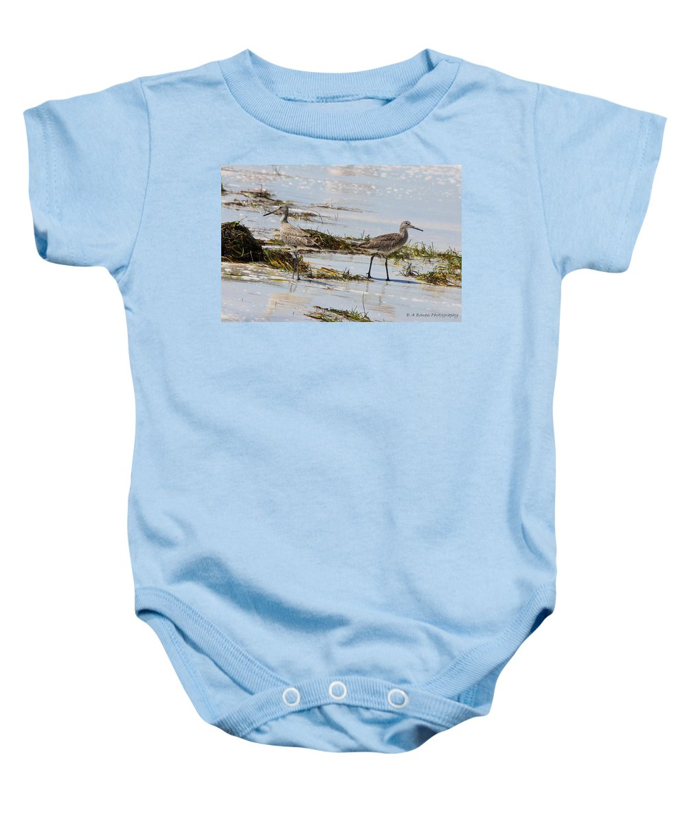 Willets Baby Onesie featuring the photograph Pair Of Willets by Barbara Bowen
