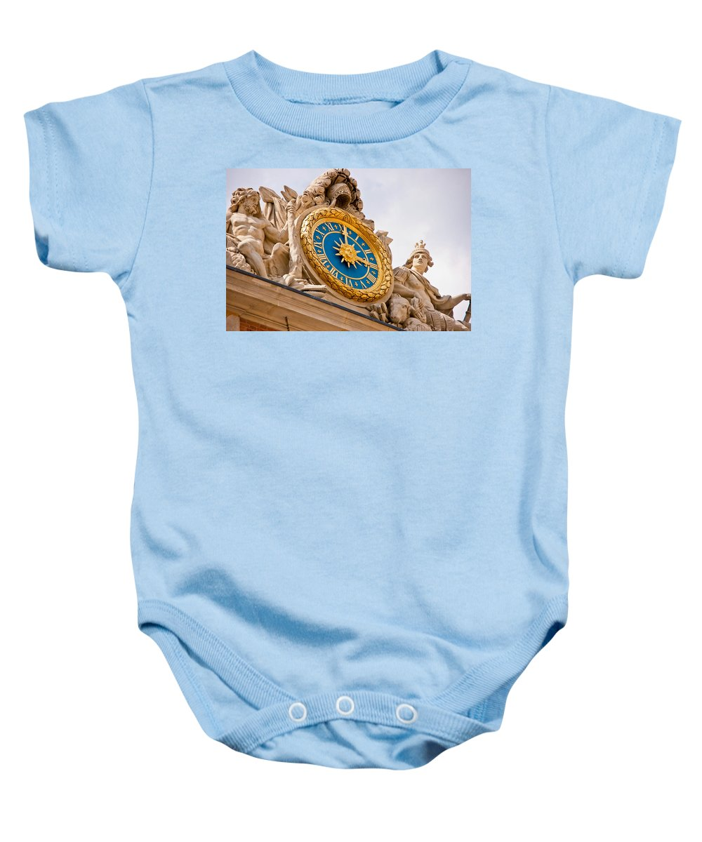 Versailles Baby Onesie featuring the photograph Palace Of Versaille Exterior Clock by Jon Berghoff