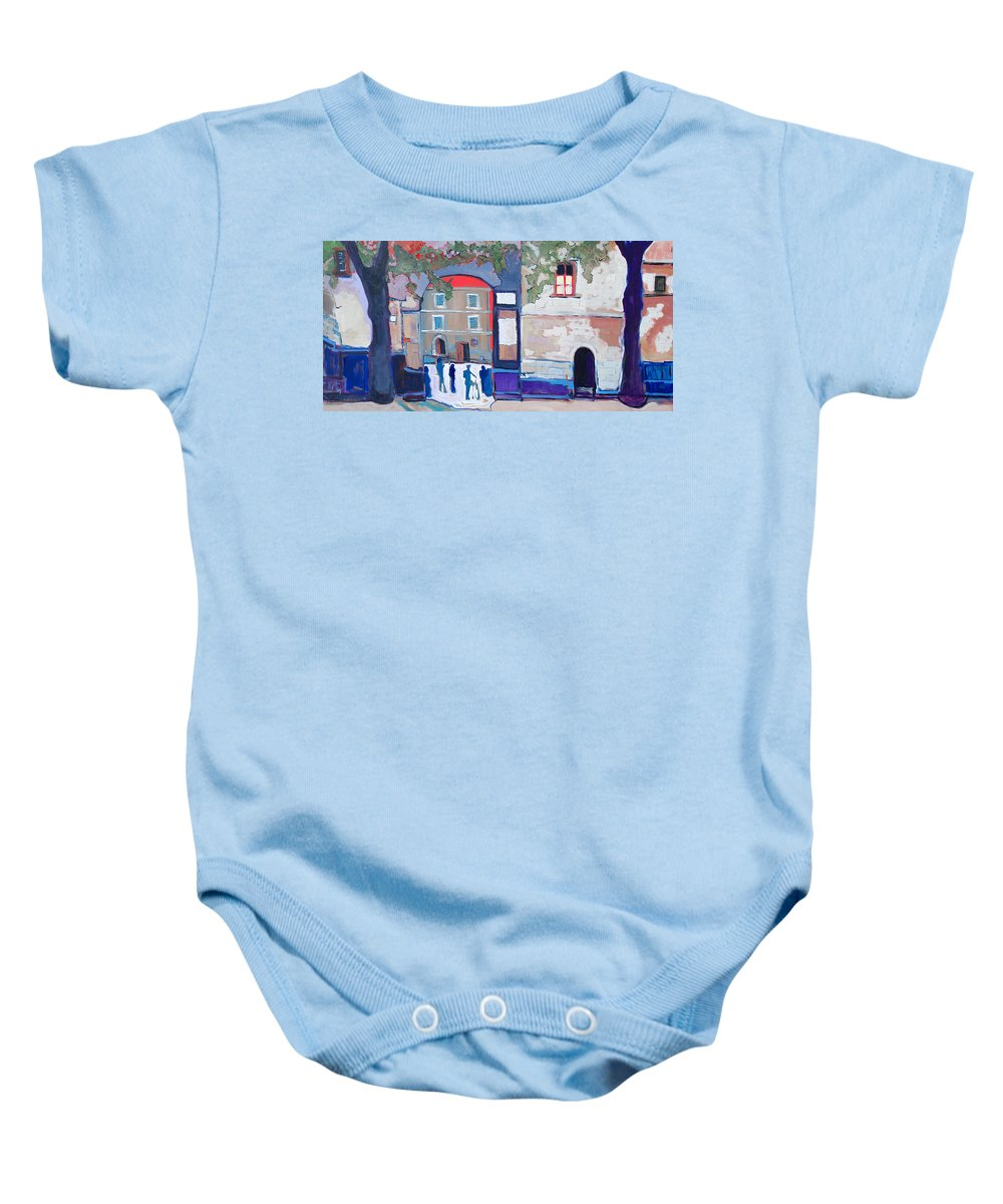 Village Baby Onesie featuring the painting Palazzo Di Villafranca by Kurt Hausmann