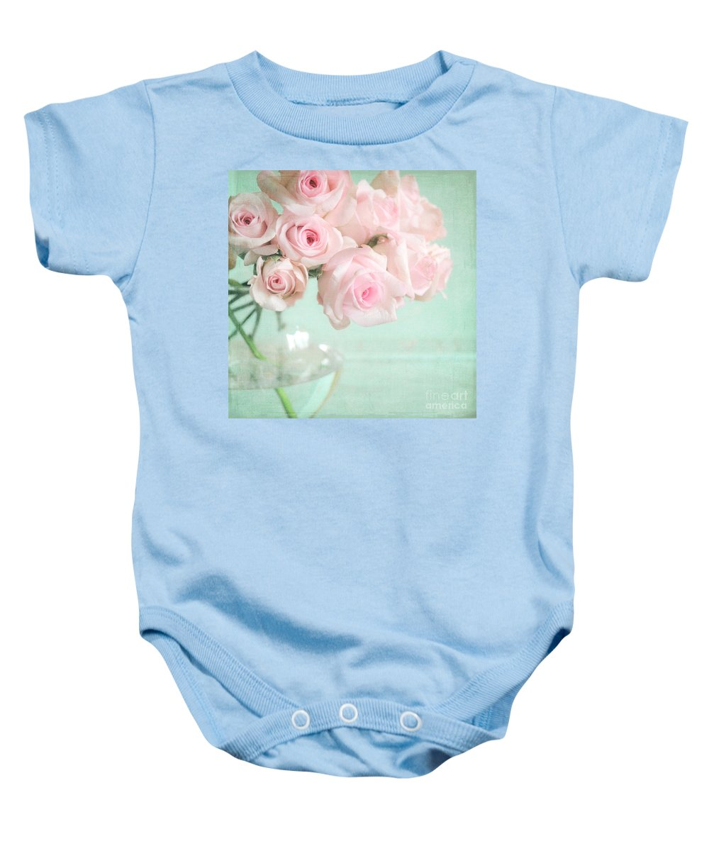 Pink Baby Onesie featuring the photograph Pale Pink Roses by Lyn Randle