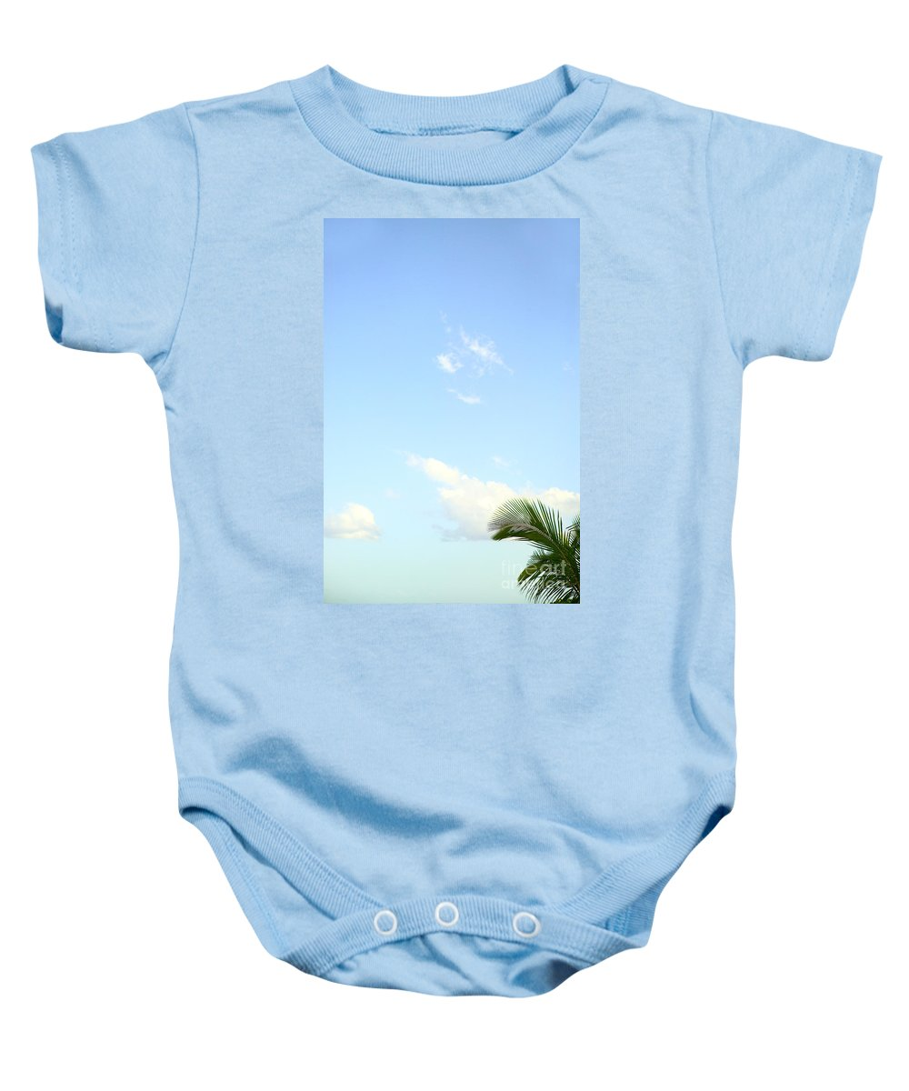Afternoon Baby Onesie featuring the photograph Palm And Sky by Dana Edmunds - Printscapes