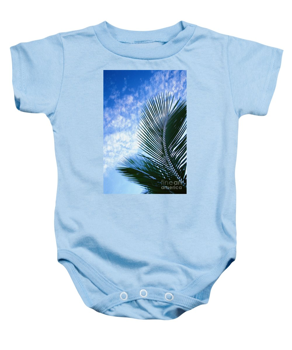 Afternoon Baby Onesie featuring the photograph Palm Fronds And Clouds by Dana Edmunds - Printscapes