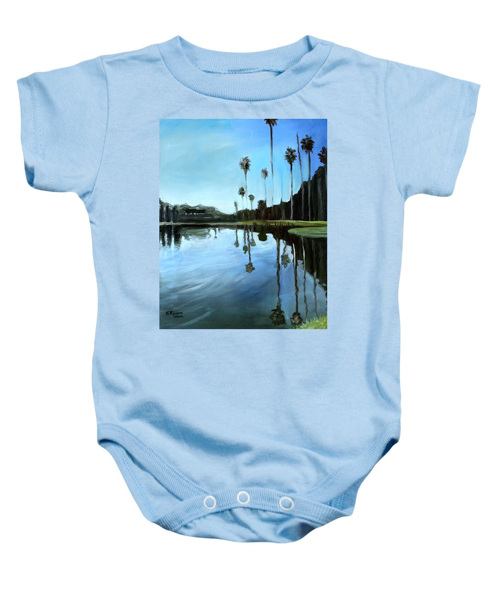 Glass Baby Onesie featuring the painting Palm Tree Reflections by Elizabeth Robinette Tyndall