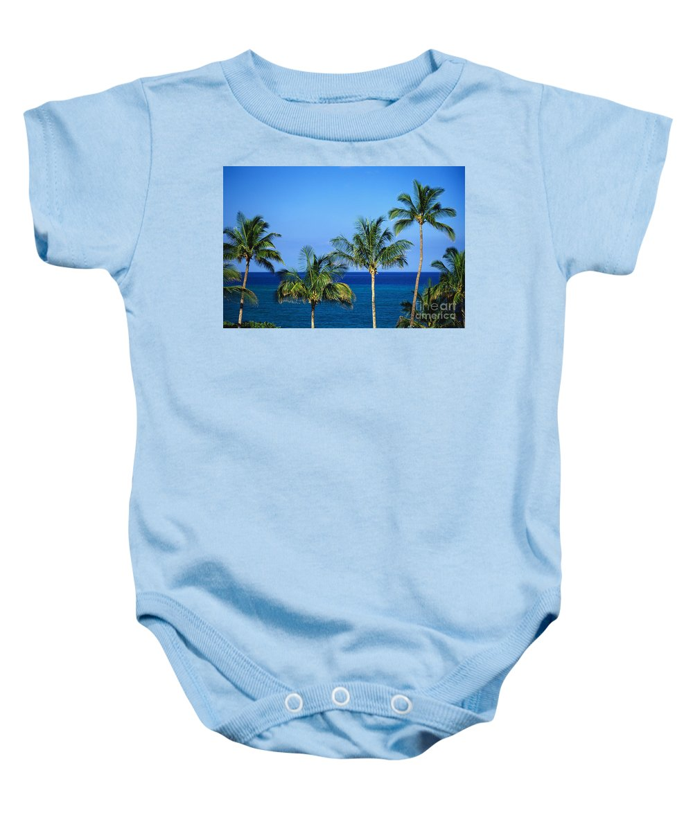 Afternoon Baby Onesie featuring the photograph Palm Tree Tops by Kyle Rothenborg - Printscapes