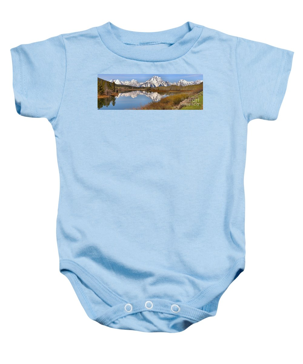 Oxbow Baby Onesie featuring the photograph Panoramic Reflections At Oxbow by Adam Jewell