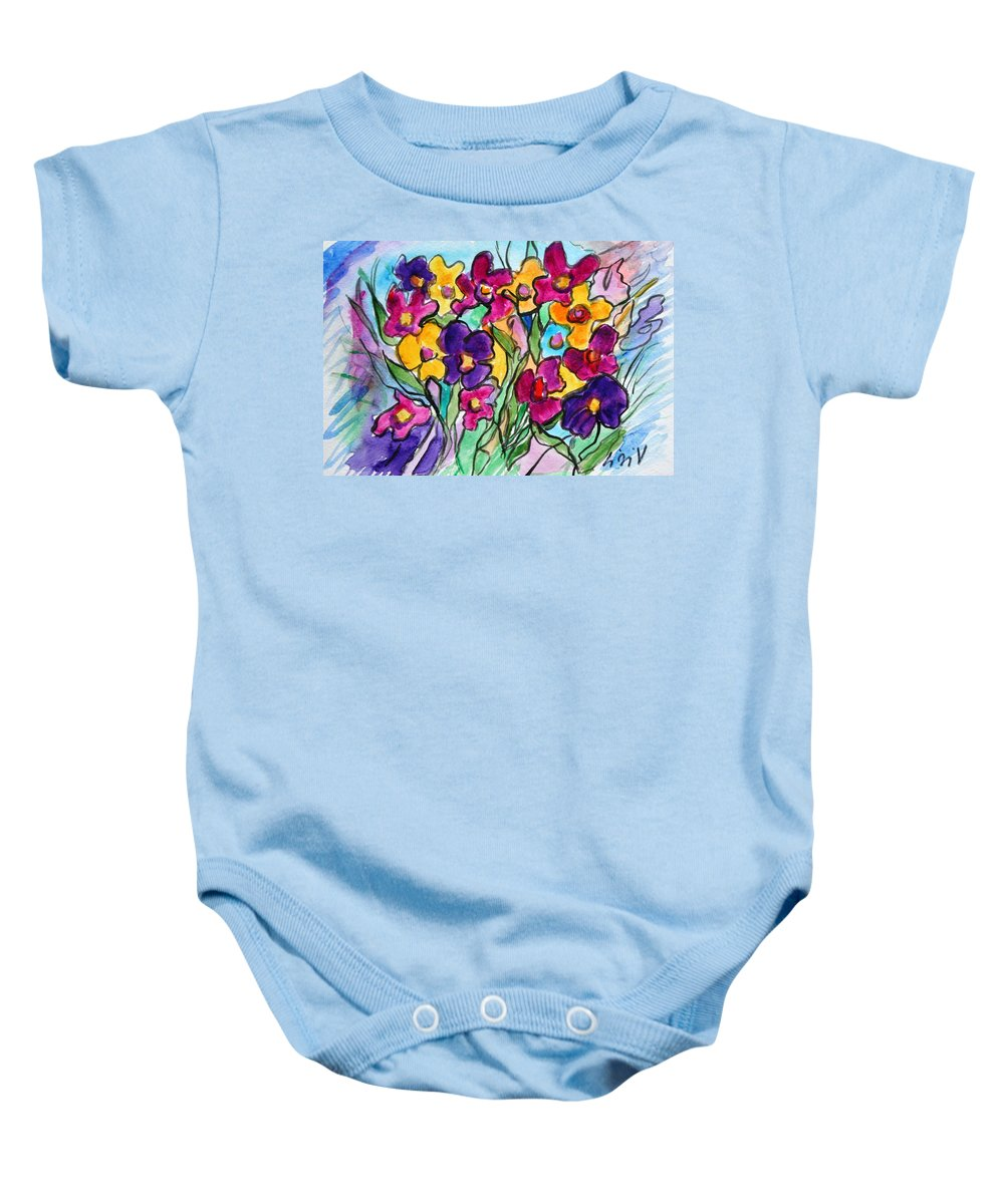 Flowers Baby Onesie featuring the painting Pansies by Luiza Vizoli