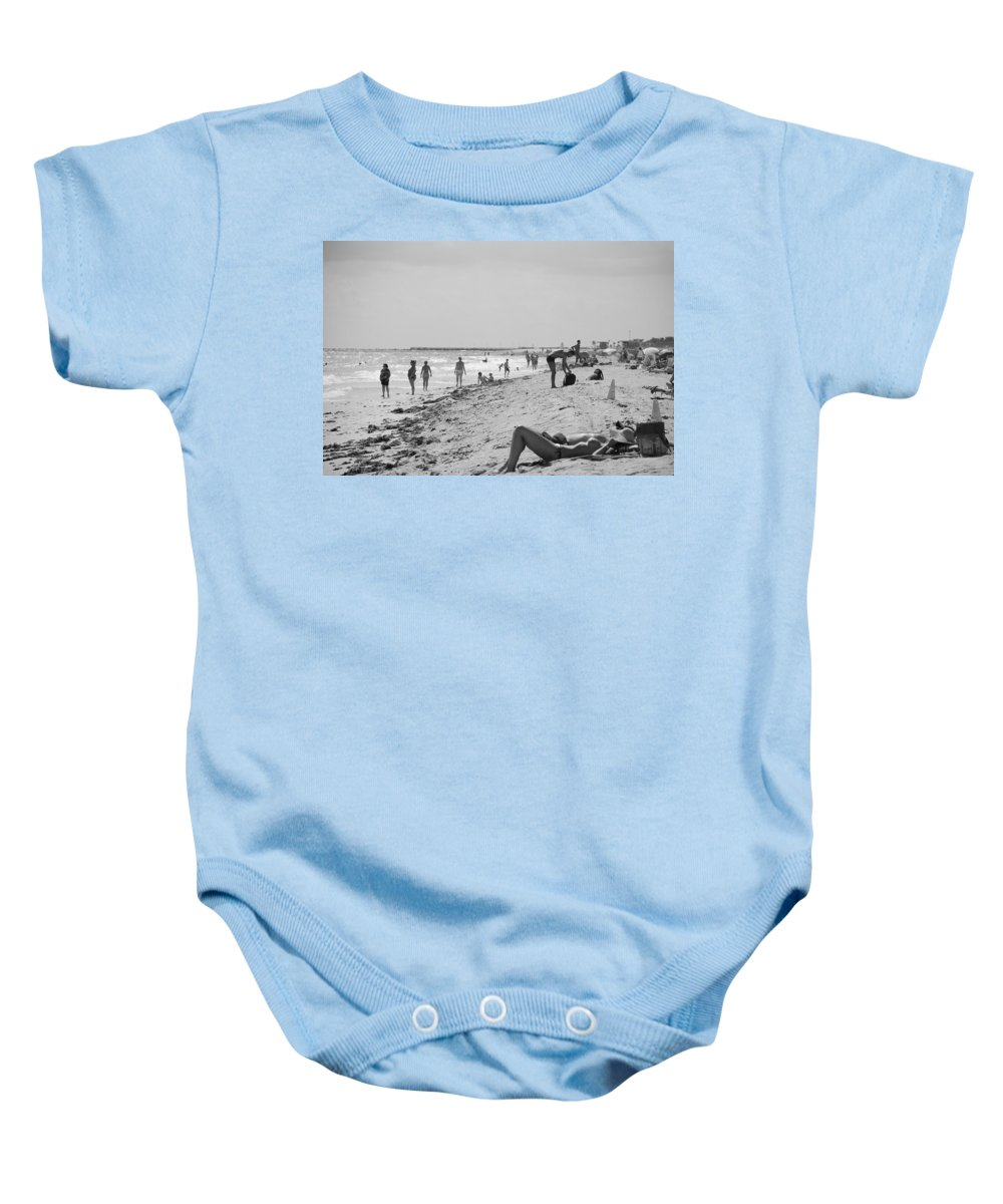Black And White Baby Onesie featuring the photograph Paradise Beach In Black And White by Rob Hans