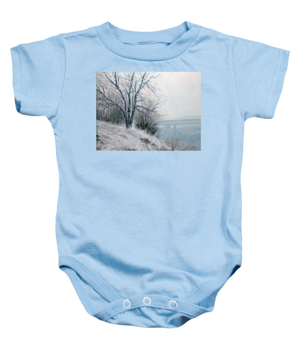 Art Baby Onesie featuring the painting Paradise Point Bridge Winter by Jim Gola
