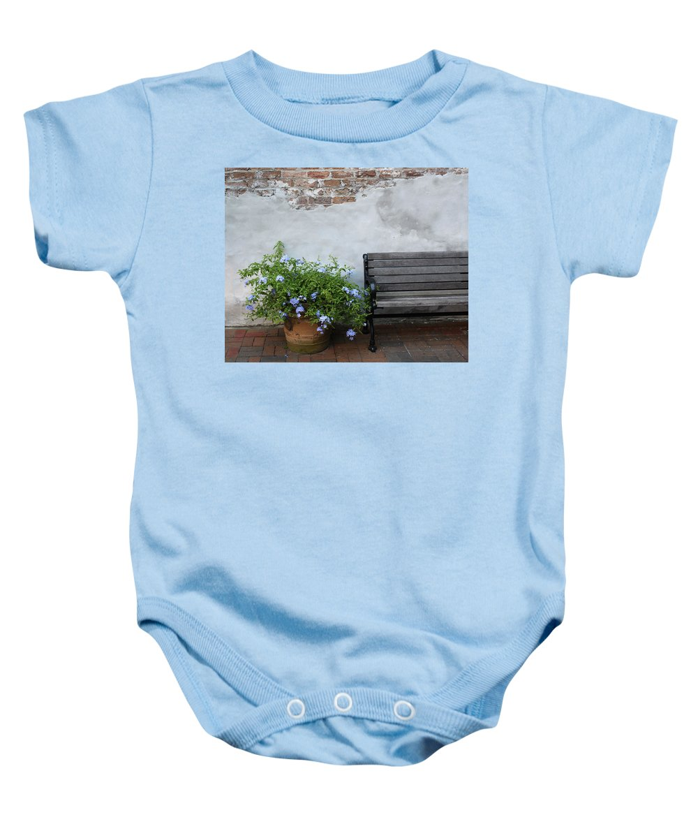 Bench Baby Onesie featuring the photograph Park It by Lauri Novak