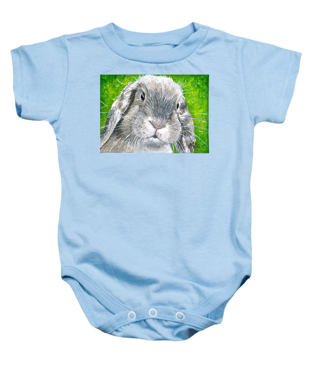 Charity Baby Onesie featuring the painting Parsnip by Mary-Lee Sanders