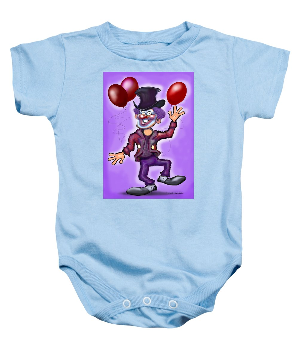 Clown Baby Onesie featuring the greeting card Party Clown by Kevin Middleton