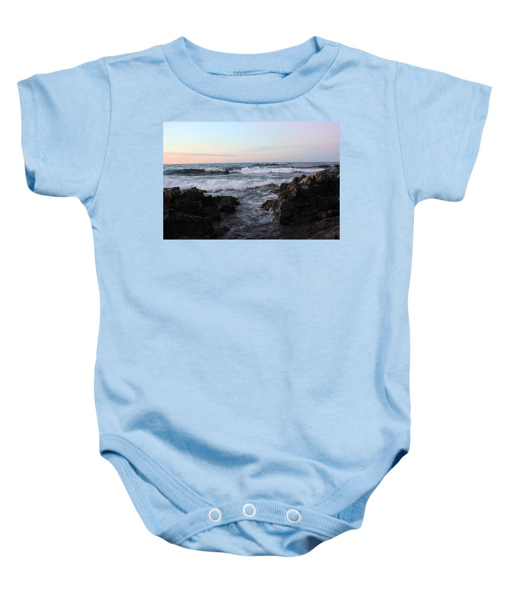 Pure Baby Onesie featuring the photograph Pastel Water Sidewalk by Two Bridges North