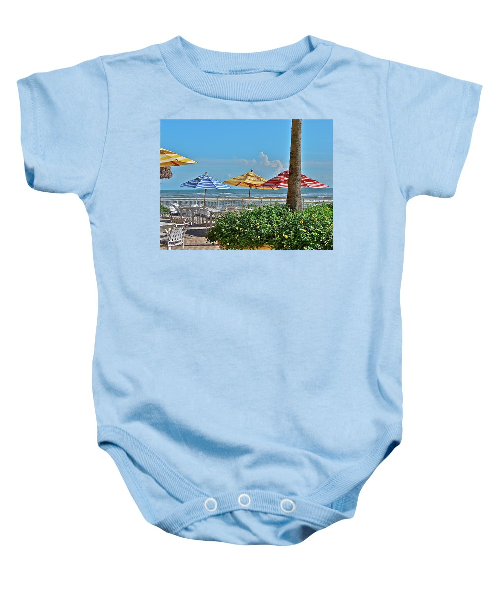 Sea Baby Onesie featuring the photograph Patio Dining by Diana Hatcher