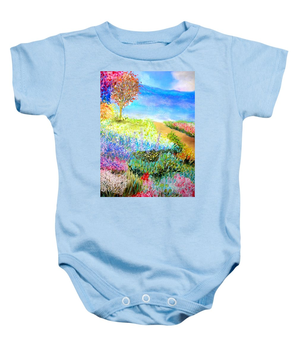 Landscape Baby Onesie featuring the print Patricia's Pathway by Melinda Etzold