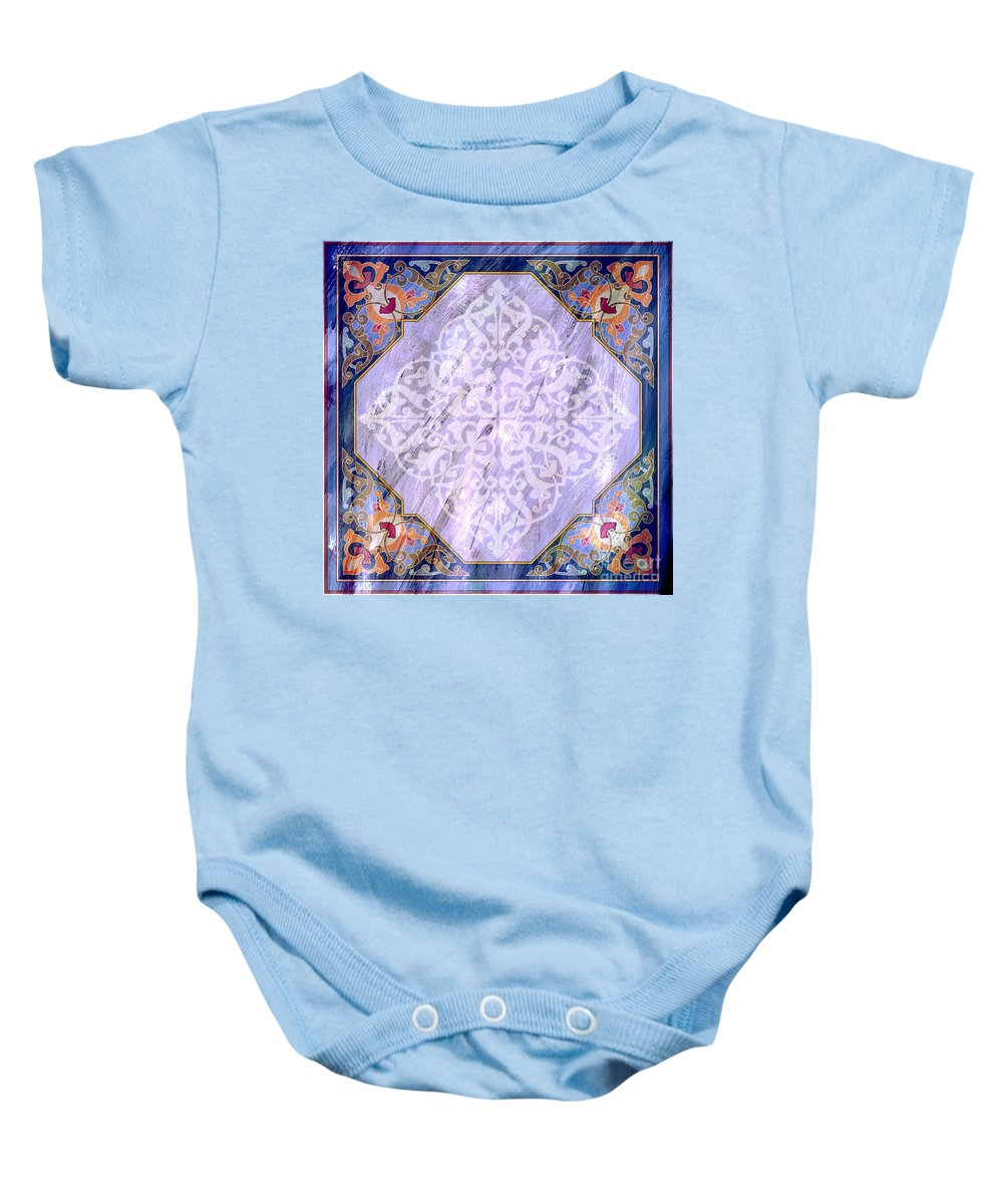 Islamic Art Baby Onesie featuring the painting Pattern Art 029 by Gull G