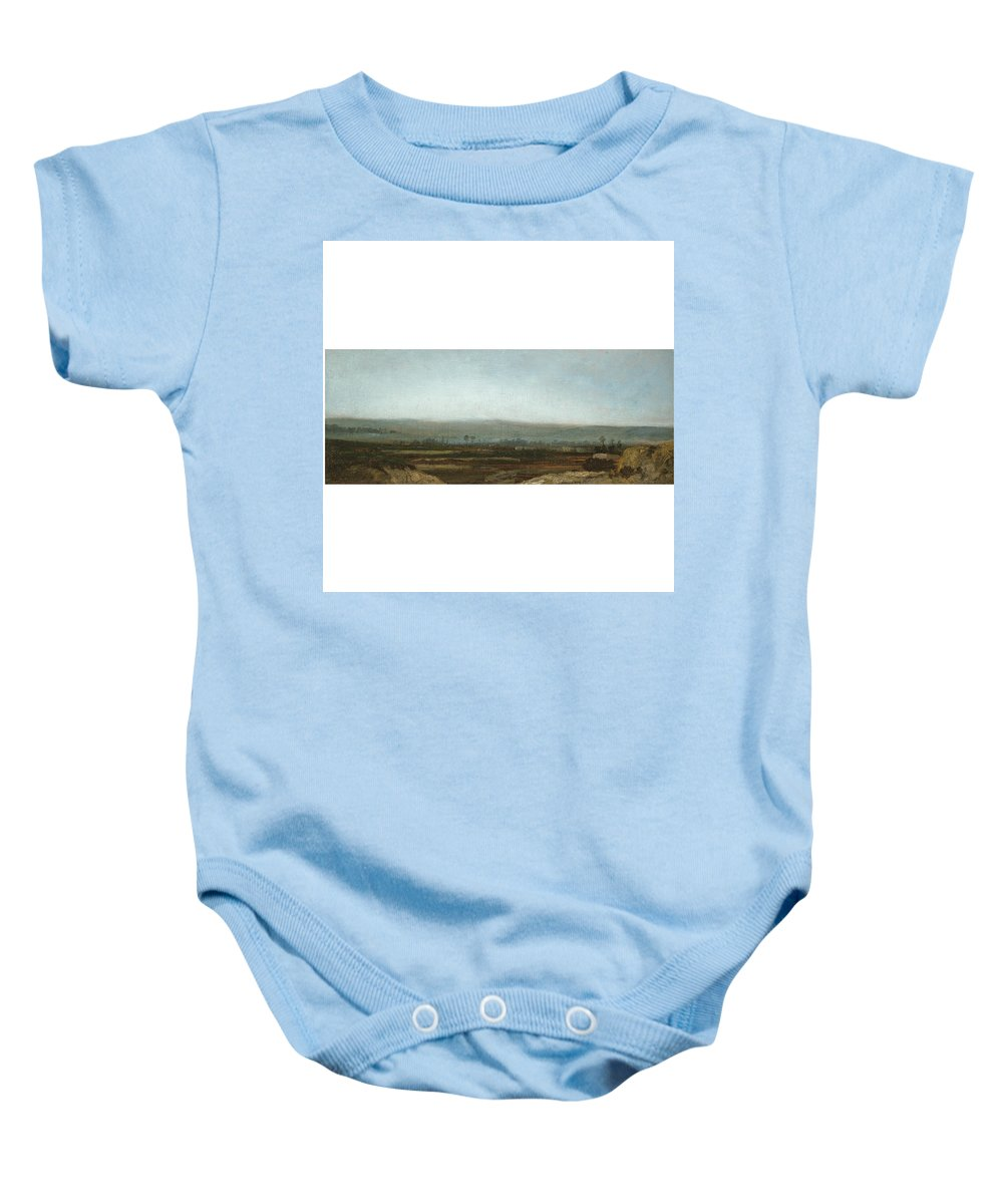 Théodore Rousseau 1812 - 1867 French Paysage Panoramique Des Environs De Paris. River Baby Onesie featuring the painting Paysage Panoramique by MotionAge Designs
