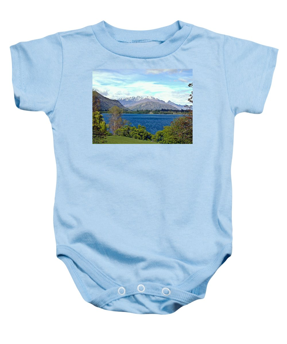 Lake Baby Onesie featuring the photograph Peaceful Lake -- New Zealand by Douglas Barnett