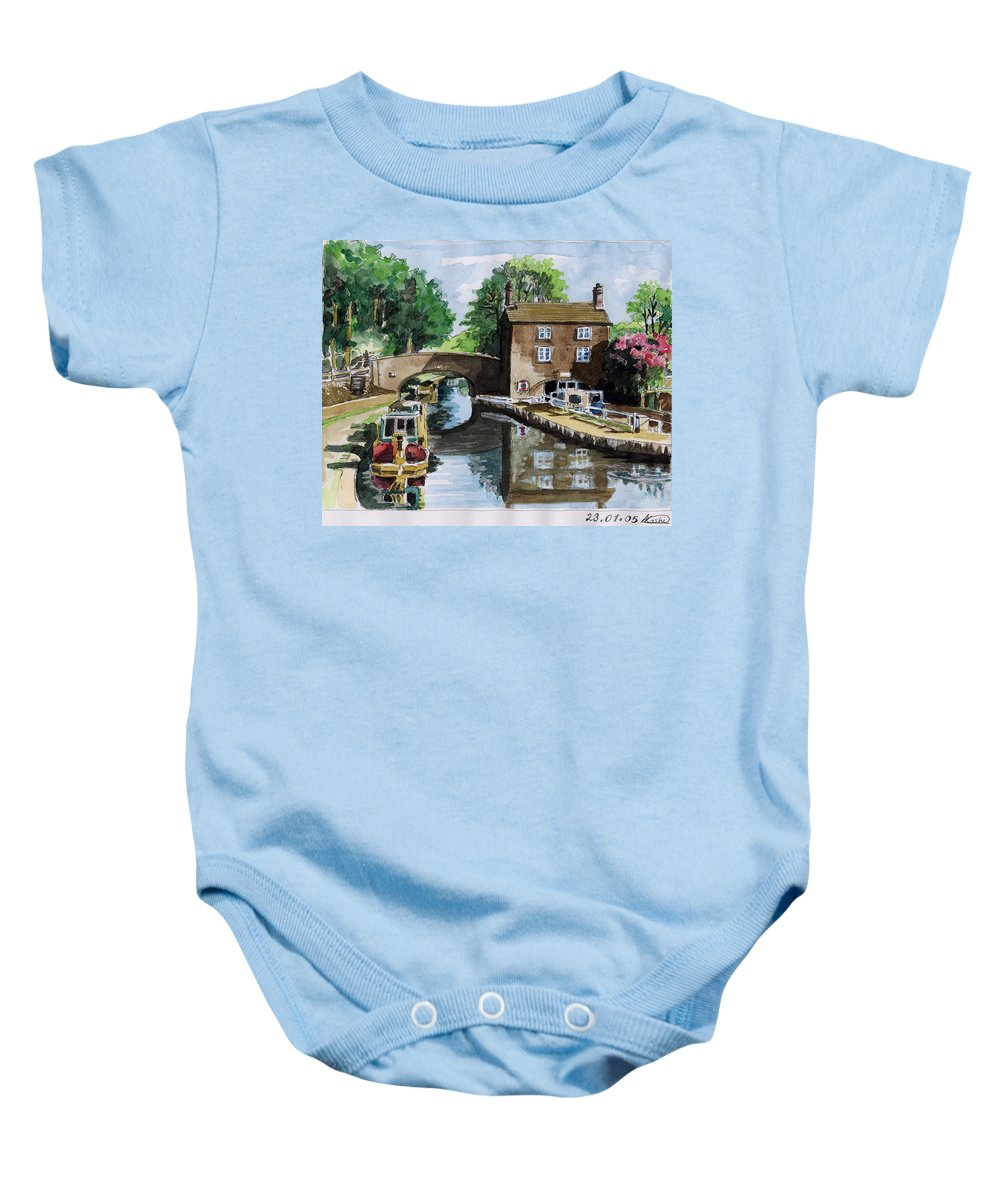 House Baby Onesie featuring the painting Peacfull House On The Lake by Alban Dizdari