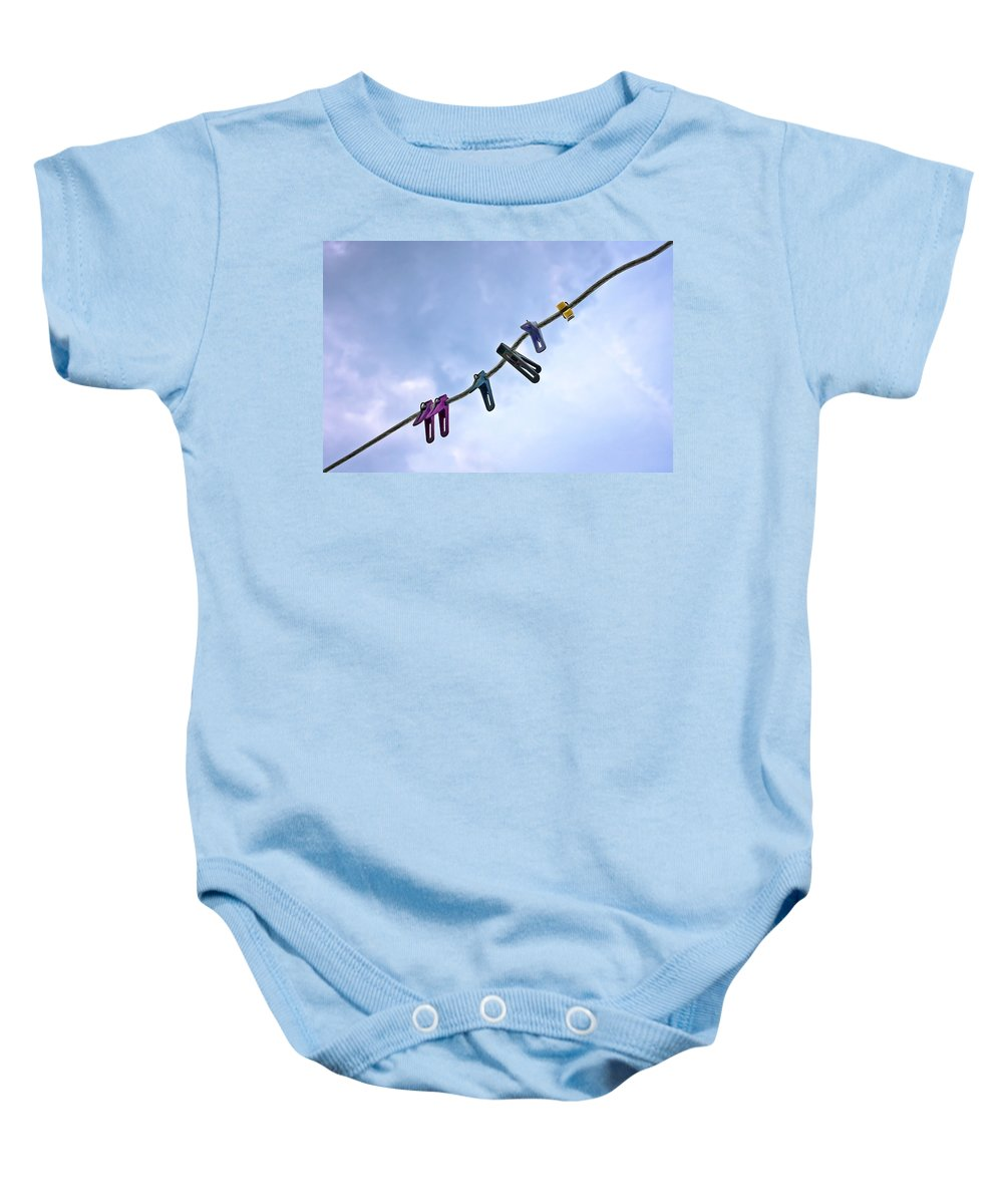 Peg Baby Onesie featuring the photograph Pegging Out by Evelina Kremsdorf