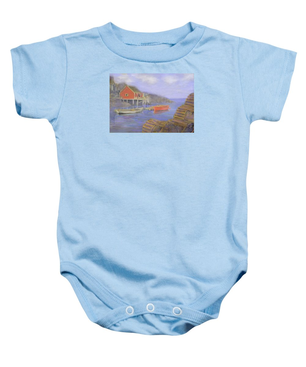 Nova Scotia Baby Onesie featuring the photograph Peggy's Cove Lobster Pots by Ian MacDonald